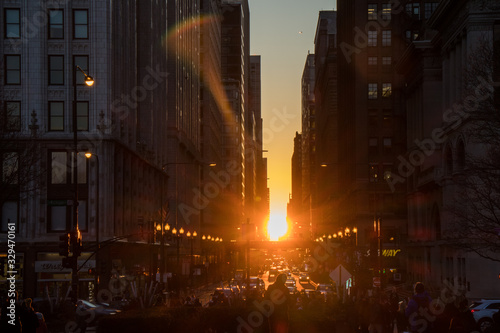 Photo sunset in chicago