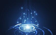 Abstract Technology Innovation Communication Concept Digital Blue Design Background. Vector Illustration