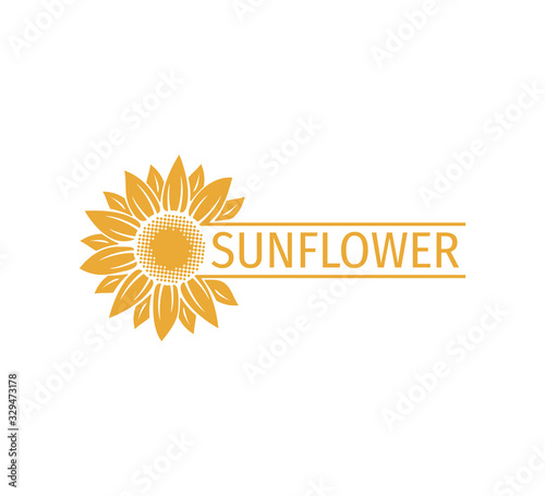 sunflower vector logo design concept with space bar for text writing