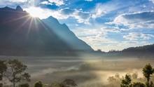 Beautiful Misty Sunrise Doi Luang Chiang Dao Mountains Of Chiang Mai Thailand