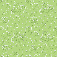 White Flowers, Baby's Breath, Gypsophila Flowers Seamless Pattern Background. Doodle Summer Floral Pattern Background. Hand Drawn Flower Cluster Background. Great For Wallpaper, Textile, Fabric.