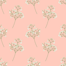 Cute Tiny White Flowers, Baby's Breath, Gypsophila Flowers Seamless Pattern Background. Doodle Summer Floral Pattern Background. Great For Wallpaper, Textile, Fabric, Card, Packaging, Wedding.