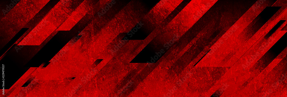Fototapeta Dark red grunge stripes abstract banner design. Geometric tech vector background