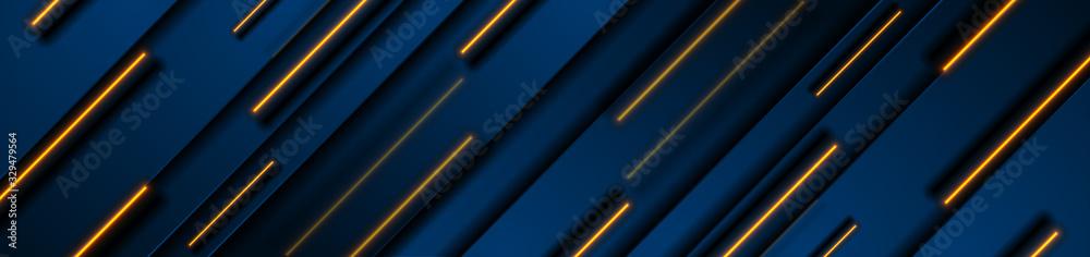 Fototapeta Dark blue geometric banner design with orange neon laser lines. Technology vector background