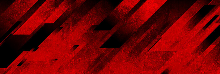 Dark red grunge stripes abstract banner design. Geometric tech vector background