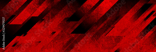 Dark red grunge stripes abstract banner design. Geometric tech vector background