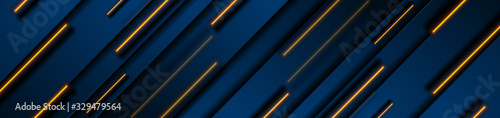 Fotografia Dark blue geometric banner design with orange neon laser lines