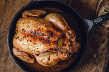 Whole Roast Chicken In A Cast Iron Pan