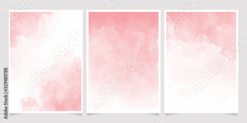 Fototapeta pink watercolor wet wash splash 5x7 invitation card background template collection obraz