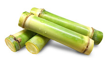 Fresh Sugar Cane Cut With Chun...