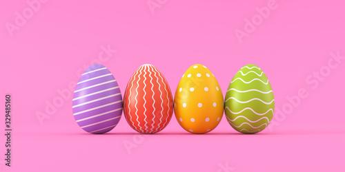 Set of easter eggs on a pink background. 3d render illustration. © 3dddcharacter