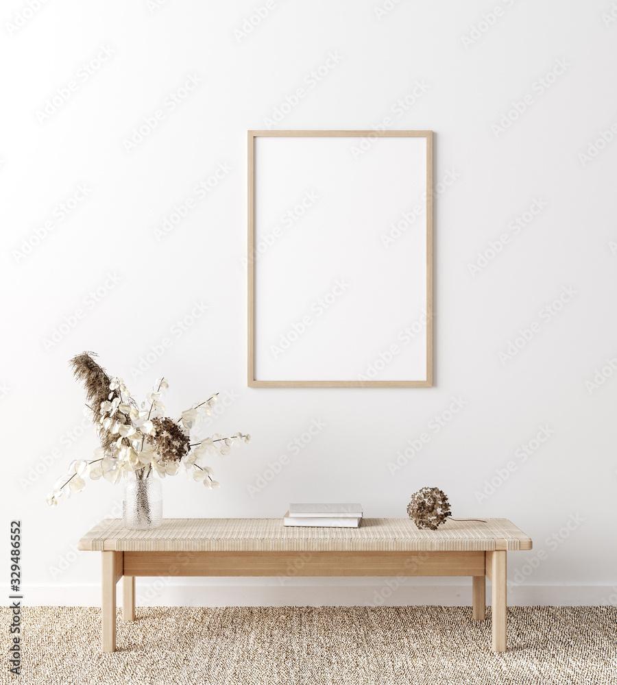 Fototapeta Mockup frame in coastal boho style interior, 3d render