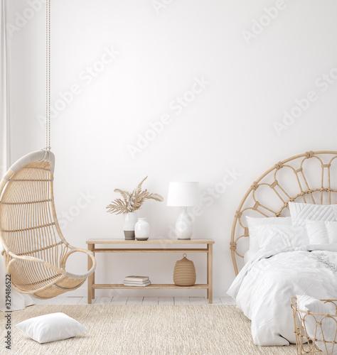 Photo Coastal boho style bedroom interior, wall mockup, 3d render