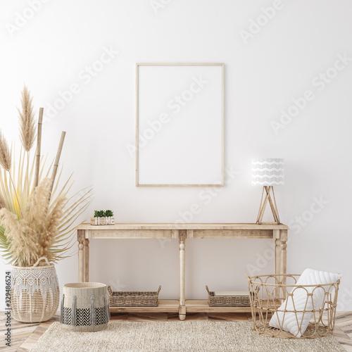 Photo Mockup frame in coastal boho style interior, 3d render