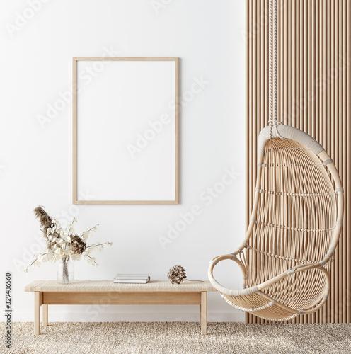 Obraz Mockup frame in coastal boho style interior, 3d render - fototapety do salonu