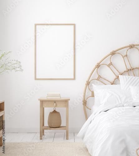 Obraz Mockup frame in Coastal boho style bedroom interior, 3d render - fototapety do salonu
