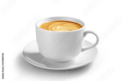 Cup of coffee latte isolated on white backgroud with clipping path Canvas Print
