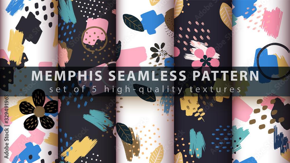 Fototapeta Memphis seamless pattern - set five items