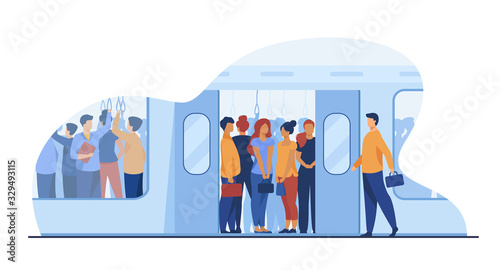 Fototapeta Crowd of commuters traveling by subway train. Metro passengers standing in overcrowding tube carriage. Vector illustration for public transport, commuting, rush hour concept obraz