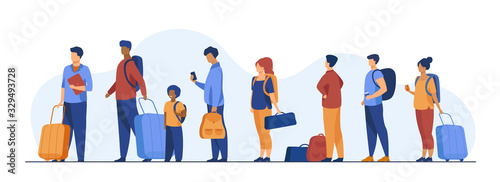 Fototapeta Group of tourist with luggage standing in line. Men, women, kid holding their bags and suitcases Vector illustration for trip, airport, travel, queue concept obraz