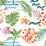 finished image of a seamless pattern, palm trees, green circle, palm branch, pink Anthurium flowers, blue waves on a white background, watercolor.