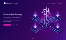 Clean Energy, Modern Power Engineering Isometric Landing Page. Renewable Sources Ecologically Alternative Energetics, Weather Station With Windmills And Solar Panels, Eco City 3d Vector Web Banner