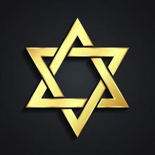 3d Golden Star Of David Symbol Desing