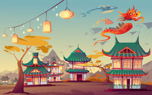 Weifang Kite Festival In China. Vector Cartoon Landscape Of Chinese Village With Traditional Houses, Glow Lanterns On Street And Flying Paper Red Dragon In Sky
