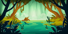 Swamp In Tropical Forest. Landscape With Marsh, Water Lilies, Trees Trunks And Bog Grass. Vector Cartoon Illustration Of Wild Jungle, Rain Forest With River, Lake Or Swamp