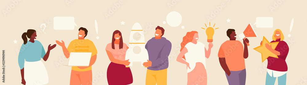 Fototapeta Group people creative team working together. Business communication and collaboration vector illustration