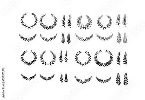Fotografija collection of Laurel Leaf crown branch black logo icon design vector illustratio