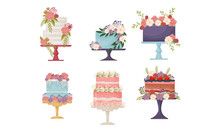 Cakes Decorated With Flowers Standing On Pedestal Cake Plate Vector Set
