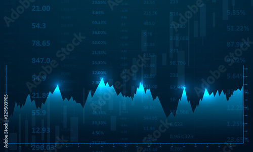 Obraz stock market, economic graph with diagrams, business and financial concepts and reports, abstract blue technology communication concept vector background - fototapety do salonu