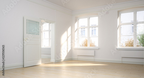 Empty renovated apartment - panoramic 3d visualization Fototapete