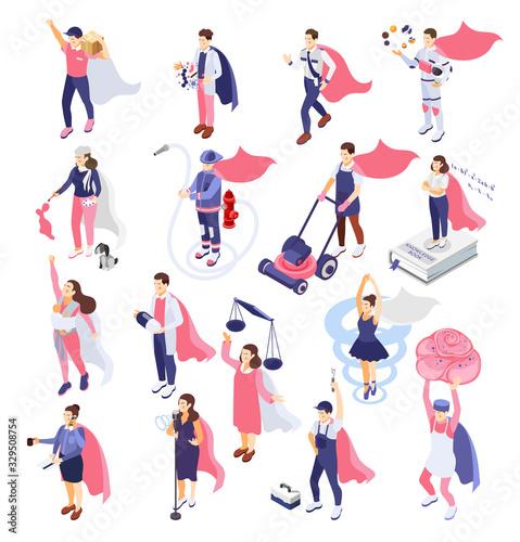 Superheroes People Isometric  Set Wallpaper Mural