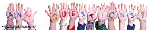 Children Hands Building Colorful Word Any Questions Tapéta, Fotótapéta
