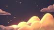 Leinwandbild Motiv Beautiful warm orange and purple cloudscape in the sky at night. 3d rendering picture.