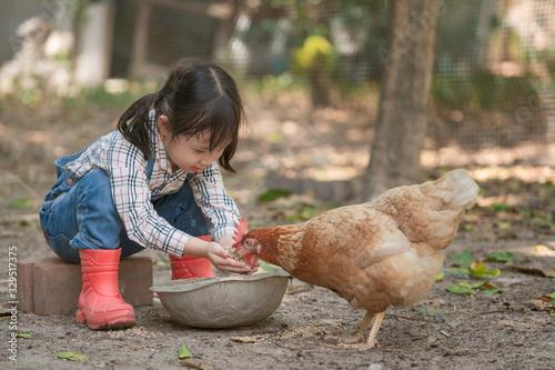 Little asian girl feeding hen happily and enjoy in the chicken farm Fototapeta