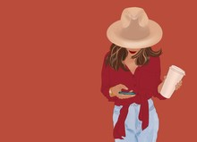 Illustration Of A Young Stylish Woman Dressed In Bright Shirt And Hat Standing With Mobile Phone And Coffee Cup On The Red Wall Background