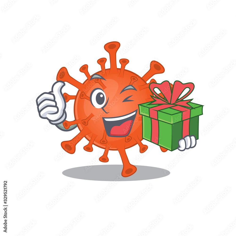 Fototapeta Smiley deadly corona virus cartoon character having a gift box