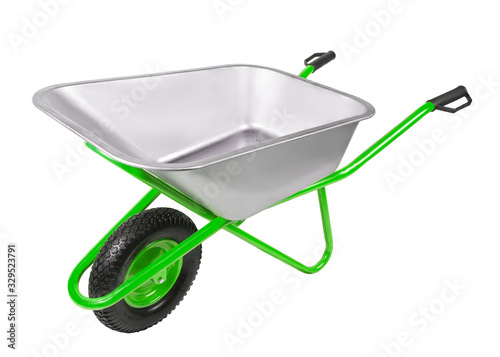 Empty construction one-wheel wheelbarrow  isolated on white background Fototapet