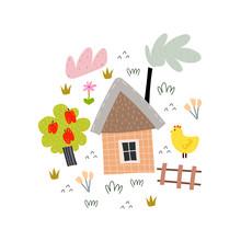 Cute Cartoon House With Tree, ...