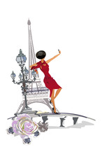 Design With The Eiffel Tower And Girls, Flowers. Hand Drawn Illustration.