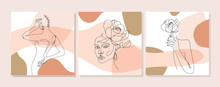 Set Of Illustrations With One Line Continuous Portrait, Flowers And Leaves. Abstract Collage With Geometric Shapes. Design Templates For Social Media Stories, Covers, Postcard, Banner Etc. Vector.