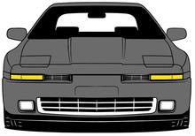 Illustration Of Front Part Old Japanese Grey Car On White Background