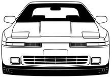 Illustration Of Front Part Old Japanese White Car On White Background