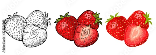 Fotografía Whole and slice strawberry. Vector engraving and flat icon
