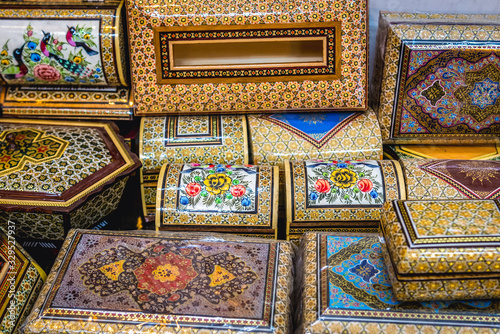 Close up on a decorated wooden and ivory boxes in souvenir shop in Shiraz, Iran Canvas-taulu