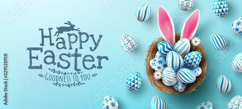 Photo Easter poster and banner template with Easter eggs in the nest on light blue background