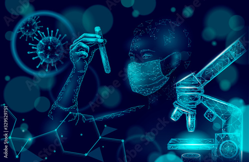 Obraz Woman doctor scientists hold test tube. Safety medical mask virus microscope vaccine. Developing pandemic coronavirus pneumonia treatment. Healthcare immunization research vector illustration - fototapety do salonu
